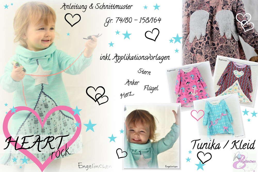 eBook Schnittmuster HEARTrock Tunika / Kleid 74-164 - Engelinchen