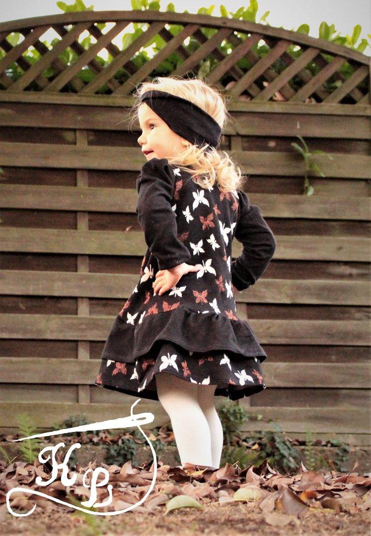 4626ef89874b Kleid Rosie Gr. 62 - 164 Rüschenkleid mit Raffung Schnittmuster + ...